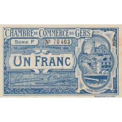 Auch (Gers) - Pirot 15-7 - Série F - 1 franc - 1914 - Etat : SUP-