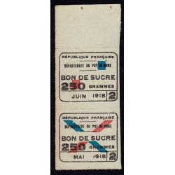 Rationnement - Sucre - 05/1918 et 06/1918 - Puy-de-Dome (63) - Etat : TTB+