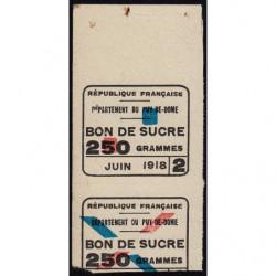 63-Puy-de-Dome - Rationnement - Sucre - 06/1918 - Etat : TTB+