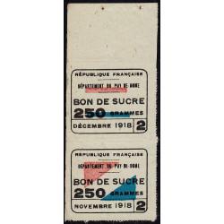 Rationnement - Sucre - 11/1918 et 12/1918 - Puy-de-Dome (63) - Etat : TTB+