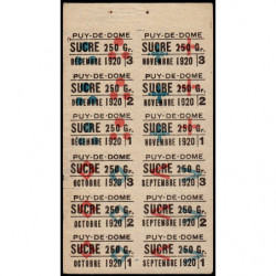63-Puy-de-Dome - Rationnement - Sucre - 09/1920 à 12/1920 - Etat : SUP