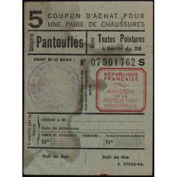 Coupon achat chaussures - Réf : 5/2 - 1944 - Saintes-Maries-de-la-Mer (13) -Etat : TB