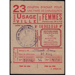 Coupon achat chaussures - Réf : 23/1 - 1947 - Saintes-Maries-de-la-Mer (13) - Etat : SUP