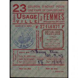Coupon achat chaussures - Réf : 23/2 - 1944 - Saintes-Maries-de-la-Mer (13) - Etat : SUP