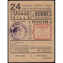 Coupon achat chaussures - Réf : 24 - 1944 - Saintes-Maries-de-la-Mer (13) - Etat : SUP