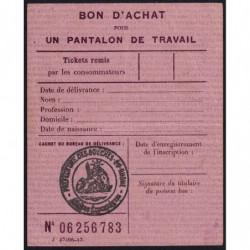 Bon d'achat pantalon de travail - 1946 - Bouches-du-Rhône (13) - Etat : SUP