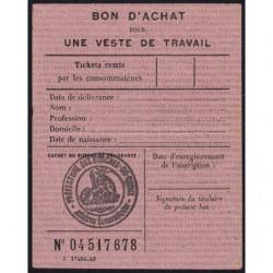 Bon d'achat veste de travail - 1946 - Bouches-du-Rhône (13) - Etat : SUP