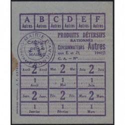 Rationnement - Produits détersifs - Titre 637463 - 1947 - Catégorie Autres - Avignon (84) - Etat : SUP