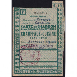 84-Cavaillon - Rationnement - Charbon - 1947 - Carte T - Etat : TTB
