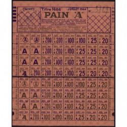 Rationnement - Pain - Titre 1686 - 07/1944 - Catégorie A - Monteux (84) - Etat : SUP