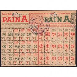 Rationnement - Pain - Titre 4685 - 02/1949 et 03/1949 - Catégorie A - Cavaillon (84) - Etat : SUP