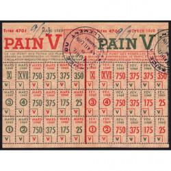 Rationnement - Pain - Titre 4701 - 02/1949 et 03/1949 - Catégorie V - Cavaillon (84) - Etat : SUP