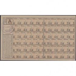 Rationnement - Feuille coupons A - 01/1919 à 06/1919 - Availles (86) - Etat : SPL