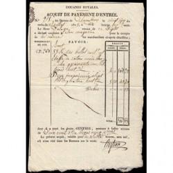 Duché de Savoie - Chambéry - 25/07/1825 - Droit de douane - 200 livres et 5 centimes - Etat : SUP