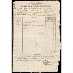 Duché de Savoie - Chambéry - 08/08/1825 - Droit de douane - 145 livres et 15 centimes - Etat : SUP
