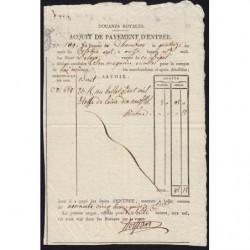 Duché de Savoie - Chambéry - 14/10/1825 - Droit de douane - 95 livres et 15 centimes - Etat : SUP