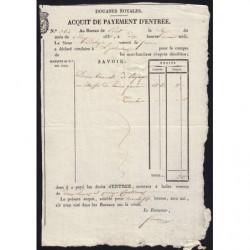 Duché de Savoie - Pont de Beauvoisin - 07/05/1831 - Droit de douane - 2 livres et 15 centimes - Etat : SUP