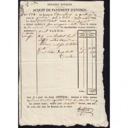 Duché de Savoie - Chambéry - 14/09/1825 - Droit de douane - 34 livres et 85 centimes - Etat : SUP