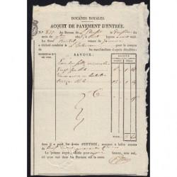 Duché de Savoie - Viry - 22/09/1825 - Droit de douane - 3 livres et 40 centimes - Etat : SUP