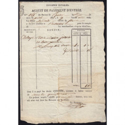 Duché de Savoie - Pont de Beauvoisin - 20/07/1837 - Droit de douane - 1 livre et 15 centimes - Etat : TTB