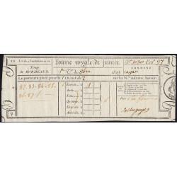 1823 - Bordeaux - Loterie Royale de France - 6 francs - Etat : SUP