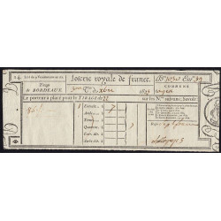 1823 - Bordeaux - Loterie Royale de France - 7 francs - Etat : SUP