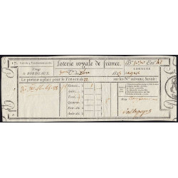 1823 - Bordeaux - Loterie Royale de France - 5 francs - Etat : SUP