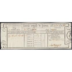 1823 - Bordeaux - Loterie Royale de France - 5 francs - Etat : SUP
