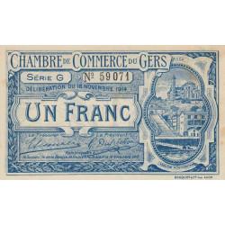 Auch (Gers) - Pirot 15-7 variété - 1 franc - Série G - 18/11/1914 - Etat : TTB