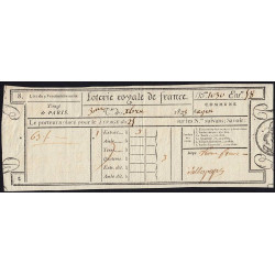 1823 - Paris - Loterie Royale de France - 3 francs - Etat : SUP