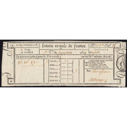 1824 - Paris - Loterie Royale de France - 3 francs - Etat : SUP