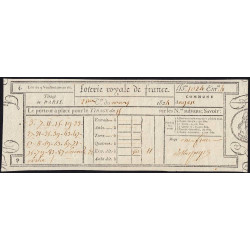 1824 - Paris - Loterie Royale de France - 11 francs - Etat : SUP