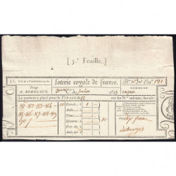 1823 - Bordeaux - Loterie Royale de France - 10 francs - Etat : SUP