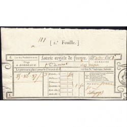 1823 - Bordeaux - Loterie Royale de France - 1 franc 50 centimes - Etat : SUP