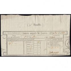 1823 - Bordeaux - Loterie Royale de France - 50 centimes - Etat : SUP