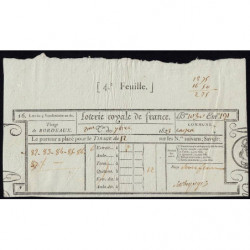 1823 - Bordeaux - Loterie Royale de France - 1823 - 12 francs - Etat : SUP