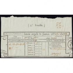 1823 - Bordeaux - Loterie Royale de France - 1823 - 12 francs - Etat : SUP