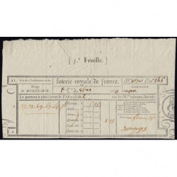 1823 - Bordeaux - Loterie Royale de France - 1823 - 1 franc 25 centimes - Etat : SUP