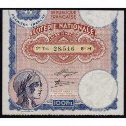 1933 - Loterie Nationale - 1e tranche - Etat : TTB