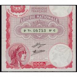 1933 - Loterie Nationale - 2e tranche - Etat : TTB