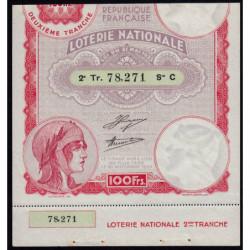 1933 - Loterie Nationale - 2e tranche - Etat : SUP