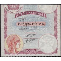 1933 - Loterie Nationale - 3e tranche - Etat : TTB