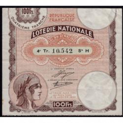 1933 - Loterie Nationale - 4e tranche - Etat : TTB