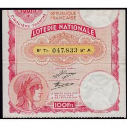 1933 - Loterie Nationale - 5e tranche - Etat : TTB