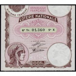 1933 - Loterie Nationale - 6e tranche - Etat : SUP