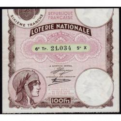 1933 - Loterie Nationale - 6e tranche - Etat : TTB