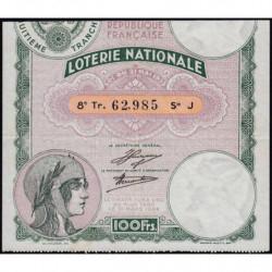 1933 - Loterie Nationale - 8e tranche - Etat : TTB