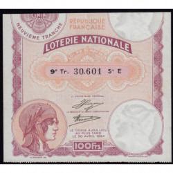 1933 - Loterie Nationale - 9e tranche - Etat : TTB+