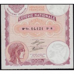 1933 - Loterie Nationale - 9e tranche - Etat : TTB