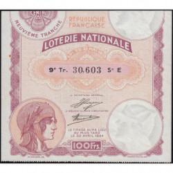 1933 - Loterie Nationale - 10e tranche - Etat : SUP